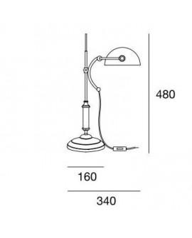 Lámpara de sobremesa vintage Santel, medidas
