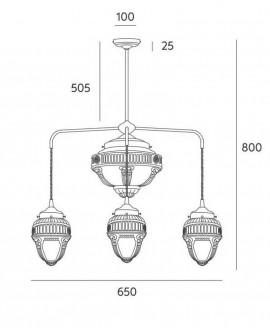 Lámpara de techo vintage Tesse, medidas