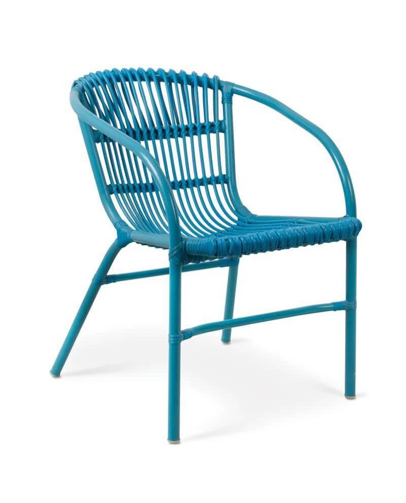 Sillón de terraza y jardín de aluminio en color azul.