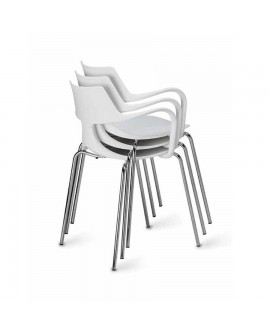 Silla apilable Iron Shark blanca