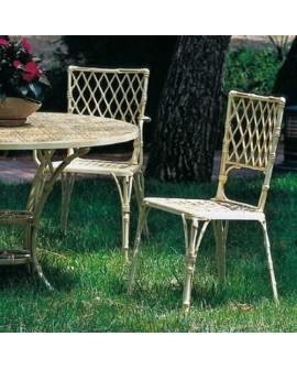 Silla de jardín aluminio Bambú