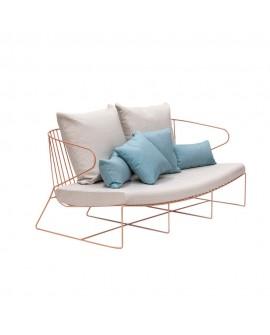 Sofá de exterior moderno Bolonia, rosa pastel